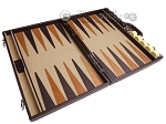 picture of Aries Professional Leather Backgammon Set - Brown/Beige (9 of 12)