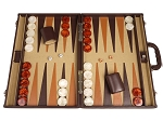 Aries™ Professional Leather Backgammon Set - Brown/Beige - Elite Series - Item: 3116