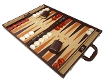 picture of Aries™ Professional Leather Backgammon Set - Brown/Beige - Elite Series (3 of 12)