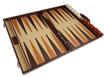 Aries™ Professional Leather Backgammon Set - Brown/Beige - Elite Series