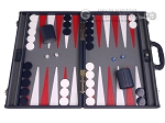 Aries Professional Leather Backgammon Set - Blue/Grey