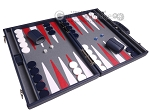 picture of Aries Professional Leather Backgammon Set - Blue/Grey (2 of 12)