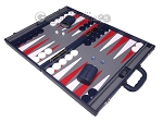picture of Aries Professional Leather Backgammon Set - Blue/Grey (3 of 12)