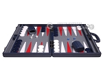 picture of Aries Professional Leather Backgammon Set - Blue/Grey (4 of 12)