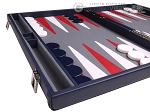 picture of Aries Professional Leather Backgammon Set - Blue/Grey (5 of 12)