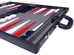 picture of Aries Professional Leather Backgammon Set - Blue/Grey (6 of 12)
