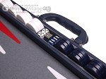 picture of Aries Professional Leather Backgammon Set - Blue/Grey (7 of 12)