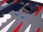 picture of Aries™ Professional Leather Backgammon Set - Blue/Grey (8 of 12)