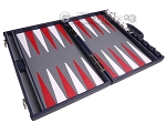 picture of Aries Professional Leather Backgammon Set - Blue/Grey (9 of 12)