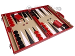 picture of Aries Professional Leather Backgammon Set - Red/Beige (2 of 12)