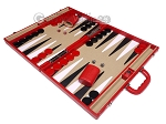 picture of Aries Professional Leather Backgammon Set - Red/Beige (3 of 12)