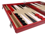 picture of Aries™ Professional Leather Backgammon Set - Red/Beige (5 of 12)