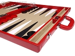 picture of Aries Professional Leather Backgammon Set - Red/Beige (6 of 12)