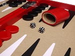 picture of Aries Professional Leather Backgammon Set - Red/Beige (8 of 12)