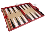 picture of Aries Professional Leather Backgammon Set - Red/Beige (9 of 12)