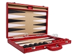 picture of Aries Professional Leather Backgammon Set - Red/Beige (10 of 12)