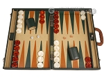 Aries™ Professional Leather Backgammon Set - Green and Brown/Beige - Elite Series