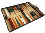 picture of Aries™ Professional Leather Backgammon Set - Green and Brown/Beige - Elite Series (2 of 12)