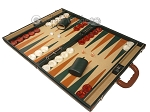 picture of Aries™ Professional Leather Backgammon Set - Green and Brown/Beige - Elite Series (3 of 12)
