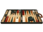 picture of Aries™ Professional Leather Backgammon Set - Green and Brown/Beige - Elite Series (4 of 12)