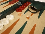 picture of Aries™ Professional Leather Backgammon Set - Green and Brown/Beige - Elite Series (8 of 12)