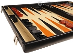 picture of Aries™ Professional Leather Backgammon Set - Black/Beige - Elite Series (5 of 12)