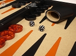 picture of Aries™ Professional Leather Backgammon Set - Black/Beige - Elite Series (8 of 12)