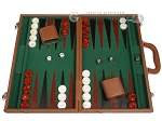 18-inch Leather Backgammon Set - Tan/Green - Item: 3859