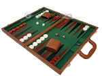 picture of 18-inch Leather Backgammon Set - Tan/Green (3 of 10)
