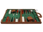 picture of 18-inch Leather Backgammon Set - Tan/Green (4 of 10)