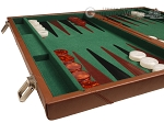 picture of 18-inch Leather Backgammon Set - Tan/Green (5 of 10)