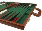 picture of 18-inch Leather Backgammon Set - Tan/Green (6 of 10)