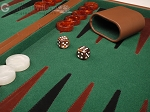 picture of 18-inch Leather Backgammon Set - Tan/Green (8 of 10)