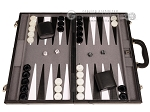 picture of 18-inch Leather Backgammon Set - Black/Grey (1 of 11)