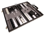 picture of 18-inch Leather Backgammon Set - Black/Grey (2 of 11)