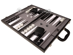 picture of 18-inch Leather Backgammon Set - Black/Grey (3 of 11)