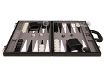 picture of 18-inch Leather Backgammon Set - Black/Grey (4 of 11)