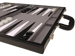 picture of 18-inch Leather Backgammon Set - Black/Grey (6 of 11)