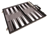 picture of 18-inch Leather Backgammon Set - Black/Grey (9 of 11)