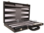 picture of 18-inch Leather Backgammon Set - Black/Grey (10 of 11)