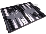 picture of Aries Professional Leather Backgammon Set - Black/Grey (2 of 12)