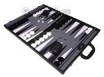 picture of Aries Professional Leather Backgammon Set - Black/Grey (3 of 12)