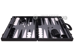 picture of Aries Professional Leather Backgammon Set - Black/Grey (4 of 12)