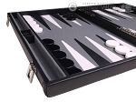 picture of Aries Professional Leather Backgammon Set - Black/Grey (5 of 12)