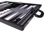 picture of Aries Professional Leather Backgammon Set - Black/Grey (6 of 12)