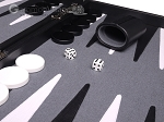 picture of Aries Professional Leather Backgammon Set - Black/Grey (8 of 12)