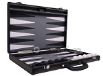 picture of Aries Professional Leather Backgammon Set - Black/Grey (10 of 12)