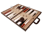 picture of 21-inch Leatherette Backgammon Set - Dark Brown/Tan (3 of 11)