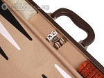 picture of 21-inch Leatherette Backgammon Set - Dark Brown/Tan (7 of 11)