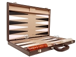 picture of 21-inch Leatherette Backgammon Set - Dark Brown/Tan (10 of 11)